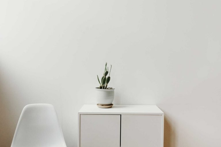 White dresser and chair